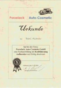 Urkunde Koblenzer Autoaufbereitung